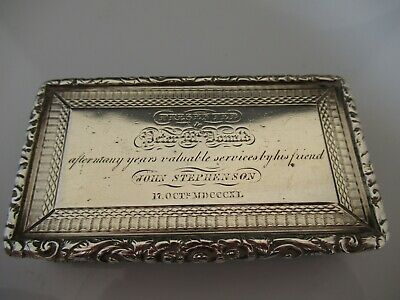 Solid Silver Early Victorian  Heavy Snuff Box 1839 Francis Clark