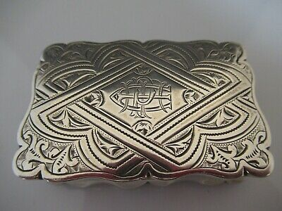 Solid Silver Late Victorian  Heavy Snuff Box 1896 W M Hayes