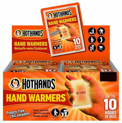 Hot Hands Hand Warmers HotHands Full Box x 20 Pairs, Easy Warmth,Upto 10hr Heat