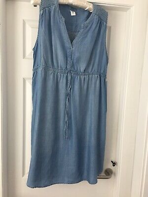 H & M Mama Blue Cotton Dress Size  Large.