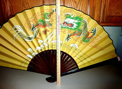 China Lacquer Fashion Dragon Fan Vintage Asian Large Cantonese Amazing Condition
