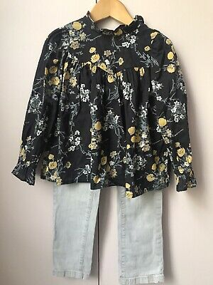 Bonpoint Black And Yellow Floral Blouse 4 Years
