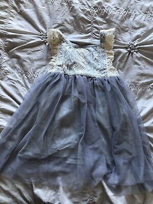 GIRL GIRLS NEUTRAL Grey Lace Blue Dress Tunic 6 YEARS CUTE New
