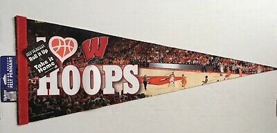 "Vintage ""I Love Wisconsin Badgers Hoops"" Full Size Pennant Basketball NCAA"