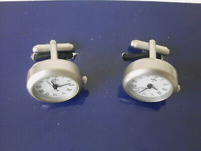 Watch-Clock Cuff-Links with Japanese Quartz Movement - High-Quality Pewter - New