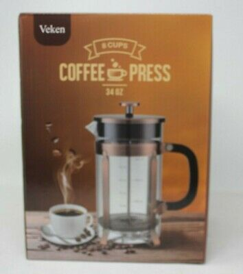 Veken French Press Coffee Maker (34oz), 304 Stainless Steel Coffee Press