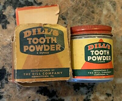 Scarce 1940s Dill's Tooth Powder Jar With Box NOS Rare Find