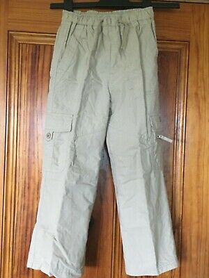 Dunnes Age 7 Stone Fully Lined Cargo Trousers Lined Waist 22.5 Inches / 57cm