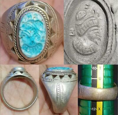 Sassanian Old Rare Turquoise stone king face seal intaglio Silver Ring # 46