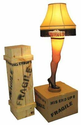 """A Christmas Story 50"""" Full Size Leg Lamp w/ Shade Movie Quality Wood Leg Crate"""
