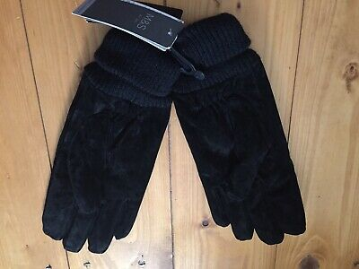 BNWT M&S Leather (suede) Gloves, Black, Size S, Thinsulate, £25.00