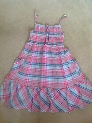 Lovely Girls Marks & Spencers M&S 100% Cotton Pink & Blue Check Dress - Age 8