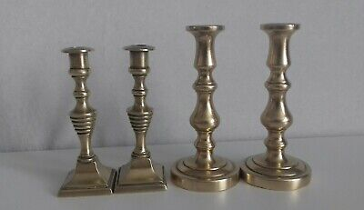 4 Small English & French Antique Brass Candlestick Holders. Peerage.