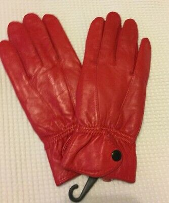 Ladies Red Leather Gloves Size Small BNWT