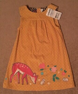 Girls Cord Pinafore Deer Dress JoJo Maman Bebe 3-4 Years