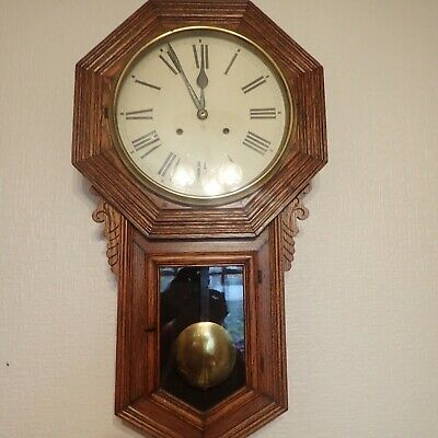 Antique Large Wall Clock with Pendulum, excellent condition