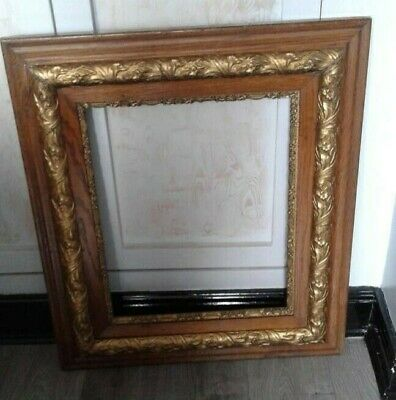 Antique Ornate  oak Gesso Detail Wooden Picture Frame Stunning Patina, 30x26""