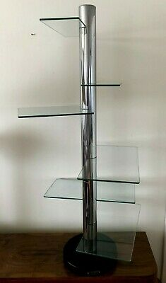 Chrome/Black  & Glass Multiform Shop Shelf Display Stand - Art Deco/Vintage