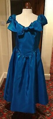 Vintage 1980'S Victorian Style Dark Turquoise Taffeta Bridesmaid  Dress By Debut