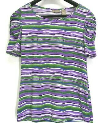 Kim Rogers Womens Large Ruffled Shoulder Short Sleeve Striped Stretch Blouse Top