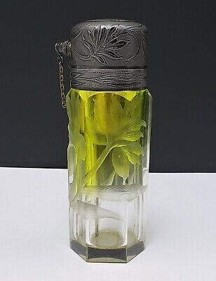 Antique Victorian Moser Intaglio Cut Glass Atomizer Perfume Bottle w Silver Cap