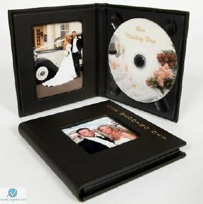 1 Small Single CD DVD Wedding Photo Album Case with Gold Lettering Black
