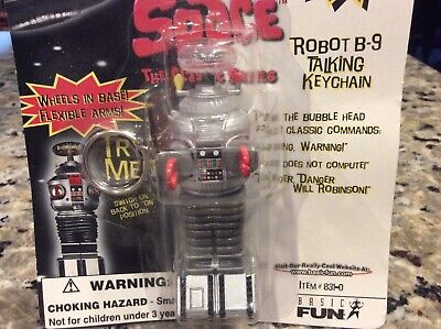 Vintage Lost in Space Robot B-9 talking Keychain-New