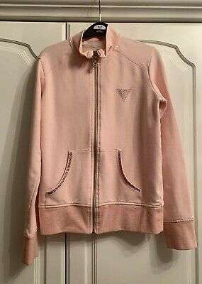 Girls Guess Pink Zip Tracksuit Top With Diamantes Aged 14 Years
