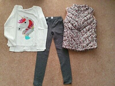 Gap 3 Piece Outfit Age 8 Flip Sequins Top,Sparkly Leggings & Padded Waistcoat