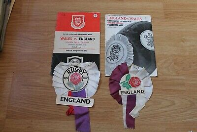 A pair of Rugby Programmes and Rosettes Wales v England
