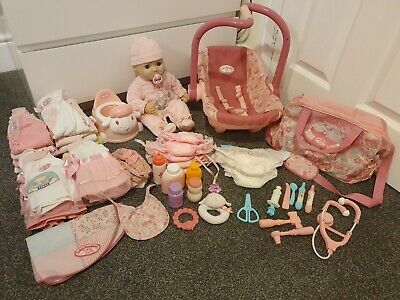 Baby Anabelle interactive Doll, Clothes, carry cot, potty & Accessories Bundle.
