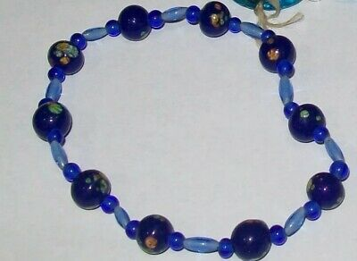 Rare Czech Glass Bead Bracelet Cobalt Blue Original Mardi Gras Bead Throw