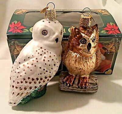 2 Old World Christmas  WISE OWL Hand Blown Hand Painted Glass Ornament  tags