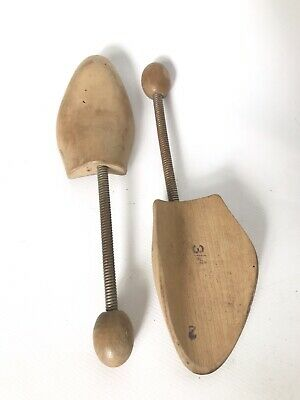 Pair of vintage shoe lasts stretchers wooden flexible metal arm shoe tree 3/4 L