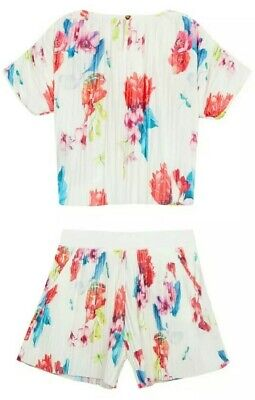 Baker by Ted Baker Girls' Off White Floral Plisse Top & Shorts Set Age 6  years