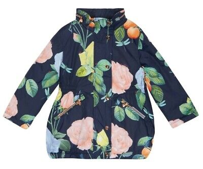 Ted Baker Girls Navy Roses Floral Shower Resistant Jacket Age 4 Years BNWT
