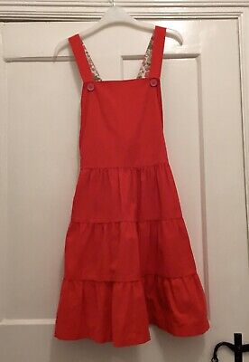 Mini Boden Bright Red Cordrouy Pinafore Dress Age 11-12 Tiered A-line Skirt