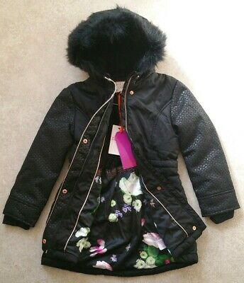 New Ted Baker Girls Black Jacquard Parka Coat/ Jacket  Age Uk 7 Years RRP £80