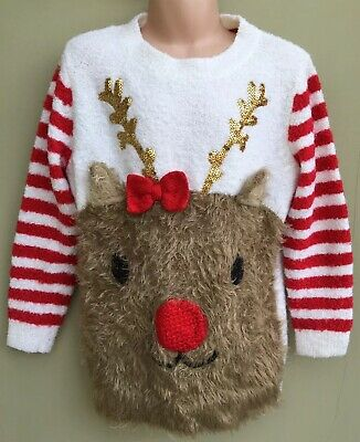 TU Girls Red Mix Sequin Rudolph Reindeer Fluffy Christmas Jumper Age 6 Years