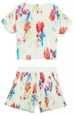 Baker by Ted Baker Girls' Off White Floral Plisse Top & Shorts Set Age 11 years
