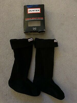 Hunter Welly Warmer Fleece Socks Wellington Black Size M Black Uk 3-5 Size