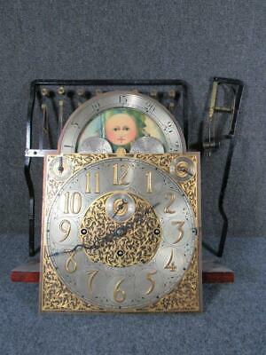 ANTIQUE 9 TUBE WALTHAM GRANDFATHER CLOCK FACE & signed MOVEMENT