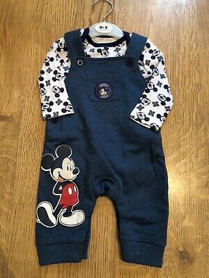 Baby Boys Disney Mickey Mouse Dungarees Bodysuit Outfit 0/3 3/6 6/9 9/12 Months