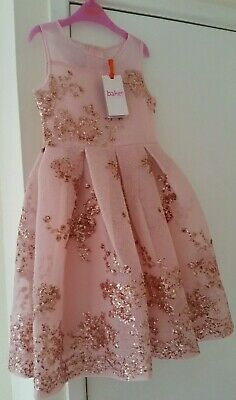 Ted Baker Girls' Light Gold Sequin Dress Age 7 Years RRP £ 75