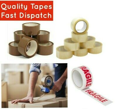 Strong Clear / Brown / Fragile Tape Long Length 48mm x 66M Parcel Packing Tape