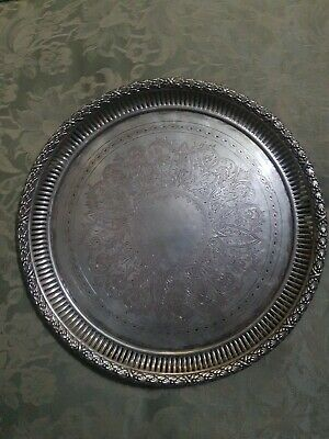 beautiful engraved antique silver dinner tray / serving dish 874g NO RESERVE!