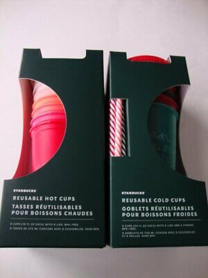 Starbucks Christmas Holiday 2019 Reusable Cold Cups Pack & Hot Cups Pack - NEW