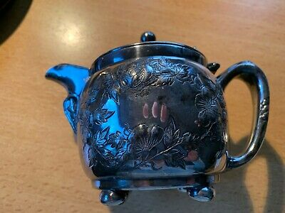 Barbour Bros Repousse Quadruple Silverplate Hinged Lid Creamer   1002