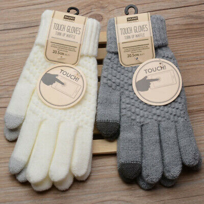 Women Men Wool Knitted Gloves Full Finger Warm Mittens Touch Screen Solid Color#