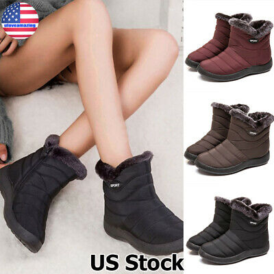 Winter Women Ladies Fur Lined Snow Boots Warm Waterproof Zip Ski Booties Shoes